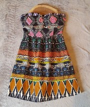 Forever 21 Strapless Festival Dress Tribal Print Womens Size Small - $8.91