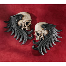 Gothic Couture Macabre Duo Stylized Winged Skulls Dark Side Mirrored Scu... - ₨3,403.48 INR