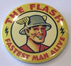 "Retro The Flash ""Fastest Man Alive"" Pin Yellow DC Comics 2"" Diameter - $14.69"