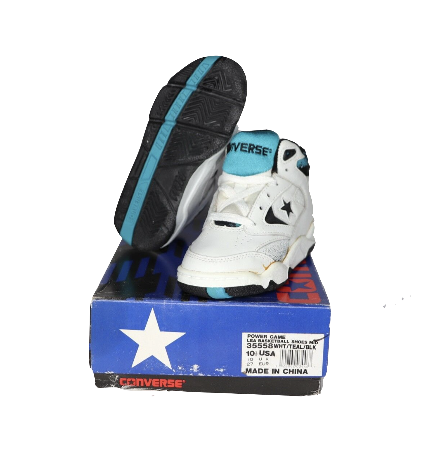 NOS Vtg 90s Converse Power Game Lea Mid Basketball Shoes White Teal Youth 10.5Y - $39.55