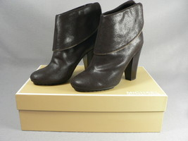 Michael Kors Darcy Ankle Boots Brown Zipper Heels Glazed Suede Leather 7... - $94.05