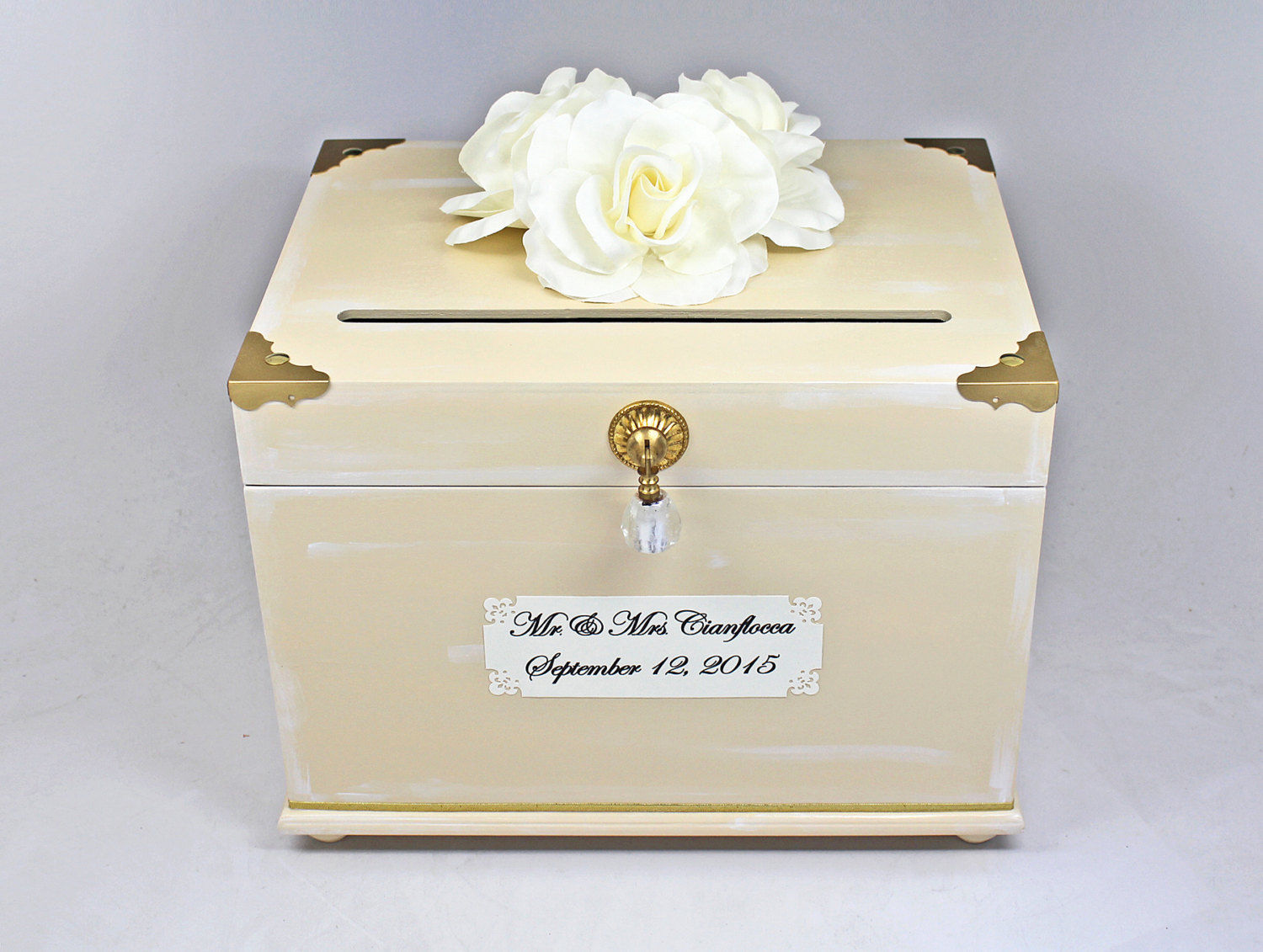 Ivory Gold Wooden Wedding Card Box Trunk, and 50 similar items