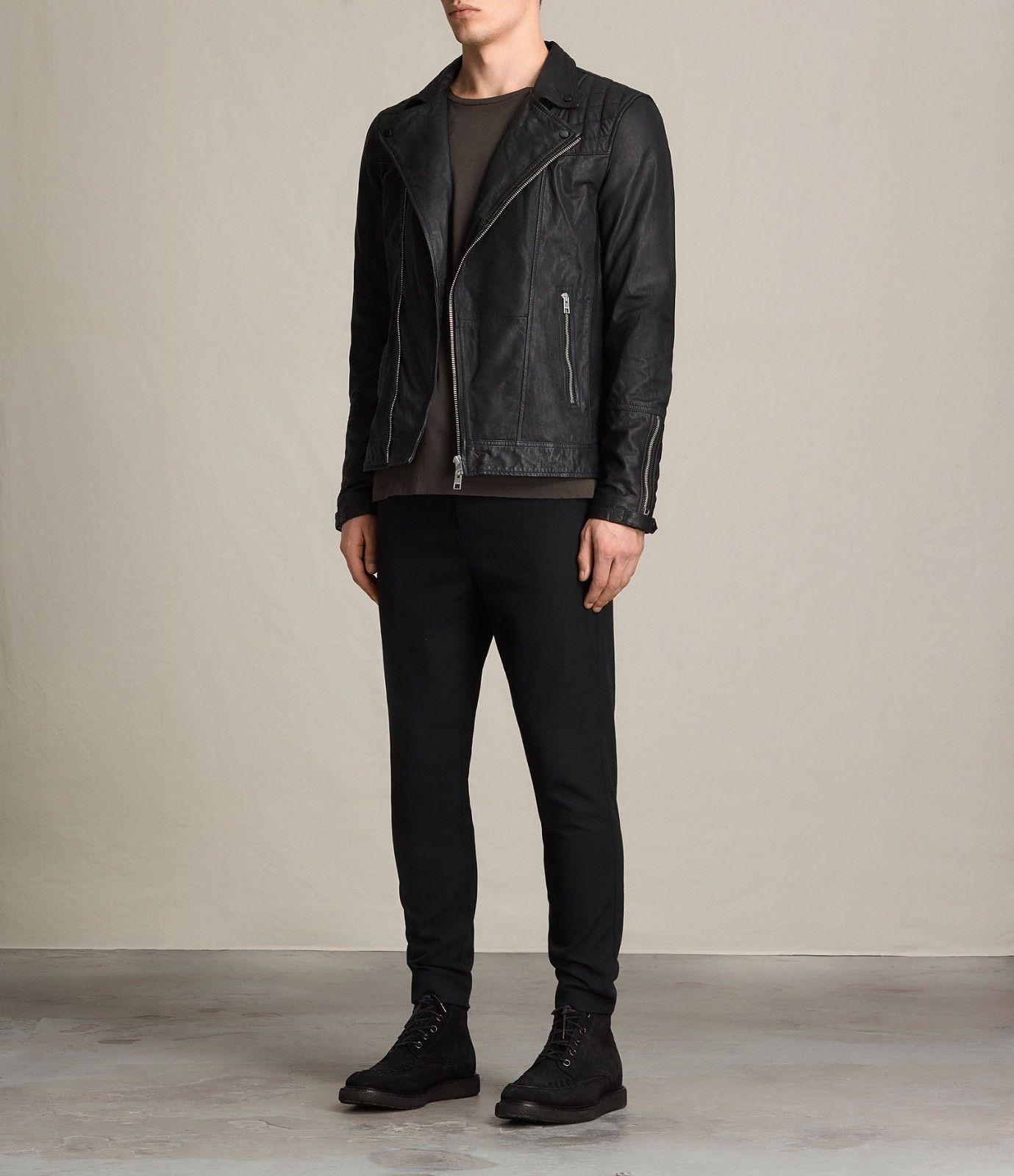 New Men's Genuine Lambskin Leather Jacket  Slim fit Biker Motorcycle jacket-G21