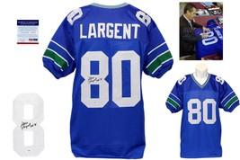 Steve Largent Signed Blue Jersey - PSA/DNA Itp - Seattle Seahawks Autograph Hof - $138.59