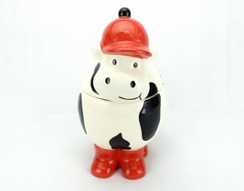 "Vintage Porcelain Cookie Jar, Holstein Cow Wearing Red Hat & Boots, 13"" ... - $34.25"