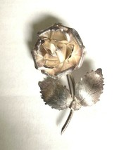 Vintage Taxco Mexico Sterling Silver 3D Rose Flower Brooch Pin  - £22.88 GBP