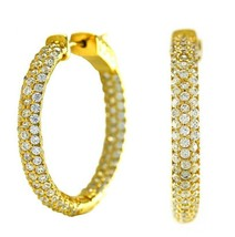 30mm Pave 5A CZ Prong Set Domed InsideOutSide Textured Yellow GEP Hoop Earrings - $49.49