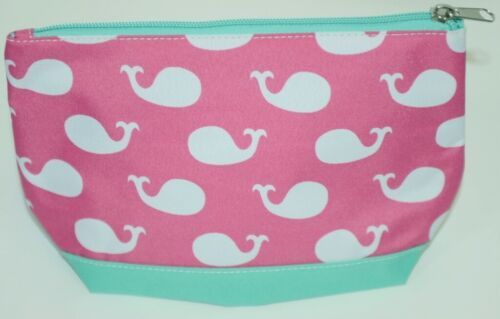 WB M715WHALES Polyester Whales Cosmetic Bag Colors Pink White Mint