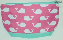 WB M715WHALES Polyester Whales Cosmetic Bag Colors Pink White Mint image 1