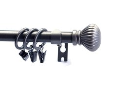 "Urbanest Fluted Ball Adjustable Single Curtain Rod Set with Rings, 5/8"" image 5"