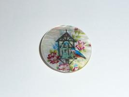 "Wonderful Birdhouse w/ Bird on Mother of Pearl MOP Shank Button - 1-3/8"" - $11.87"