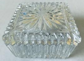 Crystal Cut  Pressed Glass Square Trinket Dish Jewelry Box Vintage - $15.30