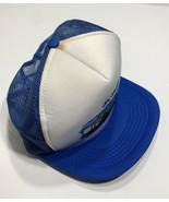 VTG Old 1990s Morgan Corporation Truckers Snapback Hat Blue White 90s - $19.55