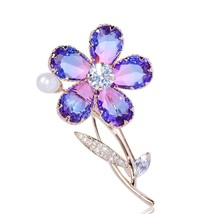 FUNMOR Luxurious Purple CZ Zircon Flower Women Brooch Freshwater Pearls ... - $25.03