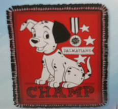 Disney 101 Dalmatians Fleece Blanket Hand Tied Red Puppies Puppy Dog - $74.95