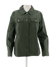 Denim Co Stretch Twill Jean Jacket Bling Buttons Dark Olive 3X NEW A199936 - $28.69