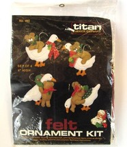 Titan Jeweled Felt Christmas Ornament Kit Geese and Teddy Bears #465 Vin... - $24.14