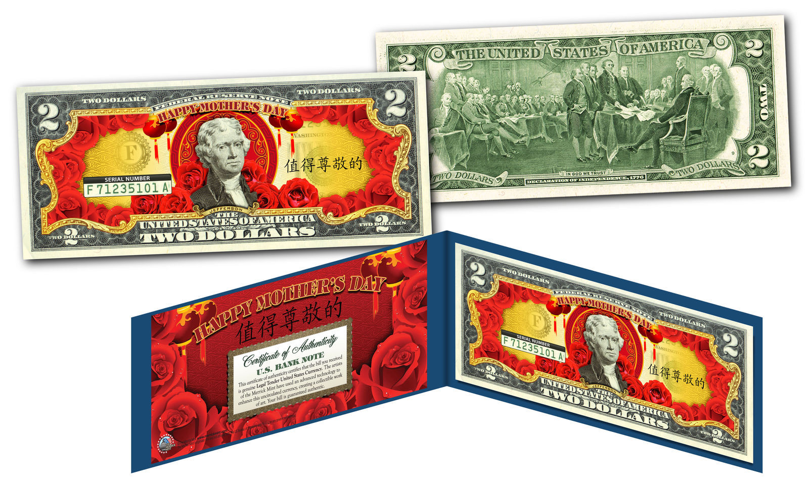 Asian Themed HAPPY MOTHERS DAY *Lucky Money* Legal Tender U.S $2 Bill w/ Display