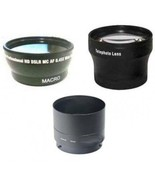 Wide Lens + Tele Lens + Tube Adapter bundle for Nikon Coolpix P100 Camera - $60.23