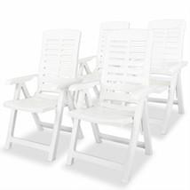 vidaXL 4x Reclining Garden Chairs Plastic White Outdoor Chair Bistro Chair - $170.99