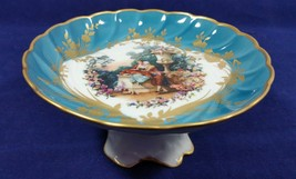 Vintage Limoges France Pedestal Bowl Small Courting Couple Compote Dish - $131.99