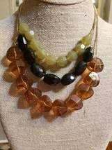 Vintage Lucite Chunky Necklace 3 CHAIN Strand - $43.56