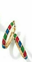 Avon Ceramic Glaze Hoop Earrings Multi Colored - $15.84