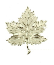 "VINTAGE SILVER TONE TRIFARI LEAF PIN BROOCH FLORENTINE FINISH 2"" - $44.99"