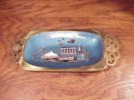 Vintage Israel Temple Gold Tone and Blue Metal Tray, with Enameled Scene - $7.95