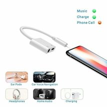 iPhone 7 Adapter 3.5mm Aux Jack Headphone Earphones Audio Splitter White Cable image 4