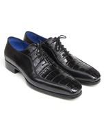 Men's Black Crocodile Texture Oxford Men Handmade Oxford Lace-up Leathe... - $149.99+