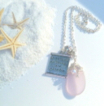With God all things Are Possible Pendant Necklace with Pink Sea Glass  - $18.00
