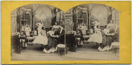 Original vintage 1870s stereoview genre view, soireé with piano playing - $18.46