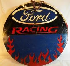FORD RACING SIGN HANDMADE Layered Hanging Metal Blue Black & Red Circula... - $89.09
