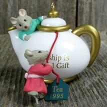 Vintage Mouse Ornament Hallmark Christmas Two For Tea Friendship Gift 1995 - $31.99