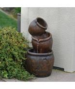 "Outdoor Fountain 3 Tier Water Cascade With Lights Pots 27"" Tall Garden O... - $158.73"