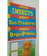 Lot 8 Learn to Draw books Horses dogs cars dinosaurs insects animals rep... - $14.84