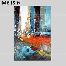 Modern Abstract Handmade Oil Painting Home Deco Art Wall City(24x36in No... - $29.69