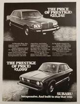 1978 Print Ad Subaru Prestige Cars Inexpensive vs Mercedes Benz Cars Exp... - $11.68