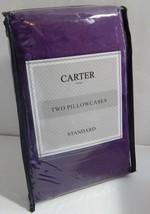 Carter Pair Standard Size Pillowcases Dark Purple New - $11.18