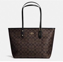NWT Coach CITY ZIP TOTE IN SIGNATURE Coated Canvas  F58292  Brown/Black - $119.95