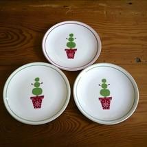 "Set 3 Starbucks Porcelain 2006 Holiday Snowman Small Dessert Snack Plates 6"" - $23.99"