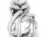 3.40Ct Round Cut White Diamond 925 Sterling Silver Lotus Engagement Wedding Ring - €103,67 EUR