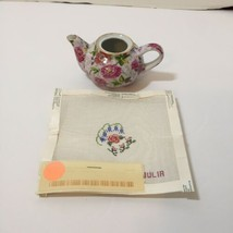Ceramic Teapot with Floral Needlepoint Canvas by Julia 24 Count  - $24.18