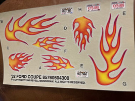 Revell 1/25 1932 Ford 3-WINDOW Coupe Street Rod Decal Sheet - $3.96