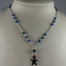 .925 SILVER RHODIUM NECKLACE WITH BLUE CRYSTALS AND LITTLE BOY SHAPED PENDANT image 1
