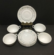 English Garden Fine China of Japan #1221 Set of 4 Footed Tea Cups & Saucers - $37.39