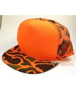 Bright Orange Foam Front Camo Mesh Trucker Hunting Hunter Style Hat Niss... - £6.30 GBP