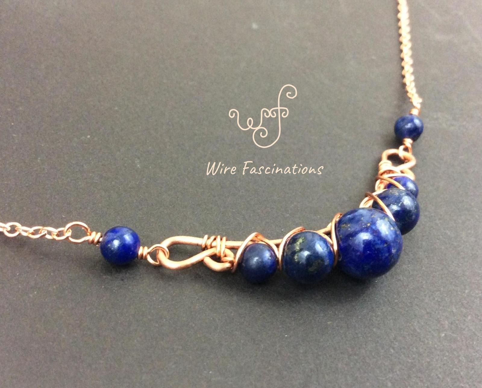 Handmade lapis lazuli necklace: criss cross copper wire wrapped image 6