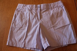 W10031 Womens ANN TAYLOR LOFT Light Purple Cotton Twill CASUAL SHORTS sz 4 - $14.50